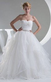Strapless Ruched A-Line Dress With Beaded Waist and Tulle Overlay