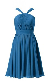 Sleeveless Halter Knee-length Pleated Chiffon Dress