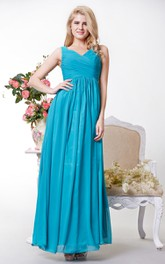 Graceful Ruched V-neck Chiffon A-line Long Dress