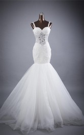 Trumpet Sweetheart Sleeveless Backless Tulle Dress