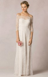 Sheath Off-The-Shoulder Floor-Length 3-4-Sleeve Lace Wedding Dress