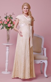 Graceful V-neck Cap-sleeved Lace Long Dress With Sash