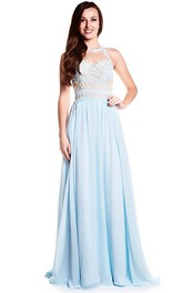 Floor-Length High Neck Sleeveless Appliqued Chiffon Prom Dress