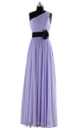 Elegant One-shoulder Chiffon A-line Dress With Floral Band