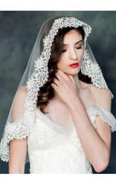 New Korean Style Wild Bride Lace Applique Short Veil