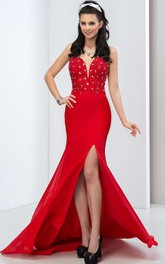 Sweetheart Side-Split Sheath Prom Dress