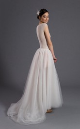 Cap Sleeve A-Line Tulle Gown With Illusion Back and Scoop Neckline