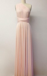 Pink Floor-length Jersey Dress