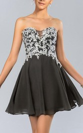 Shinning A-Line Strapless Applique Tulle Short Prom Dress