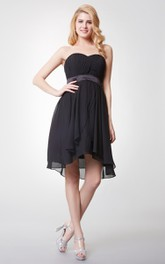 Sweetheart Empire Waist A-line Short Dress With Satin Belt