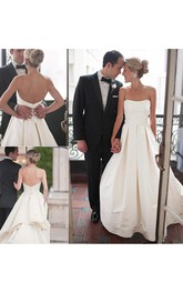 Modern Simple A Line Strapless Backless Church Bridal Gown