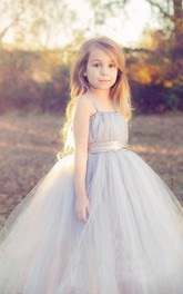 Flower Girl Spaghetti Straps Empire Tulle Ball Gown With Satin Sash