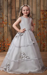 Glam Sleeveless A-Line Flower Girl Dress With Pleats and Button