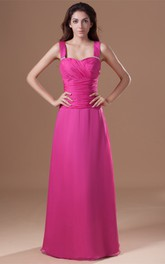 Strapped Maxi Chiffon Gown With Ruched Bodice