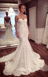 Sexy Mermaid Lace Court Train Wedding Dress 2018 Spaghetti Strap