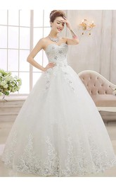 Glamorous Sweetheart Ball Gown Wedding Dreses 2018 Lace Tulle With Crystal