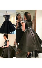 Ball Gown Short Sleeve Satin Bateau Zipper Tea-length High-low Homecoming Dress