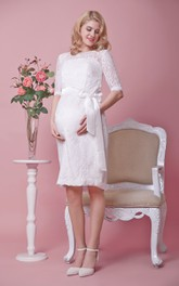 Knee Length Lace Half Sleeve Dress With Satin Bow Sash