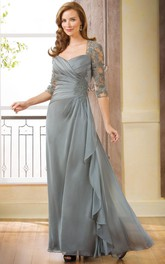 3-4 Sleeved Long Gown With Ruffle And Appliques