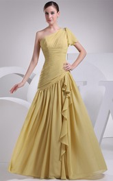 Ruched One Shoulder Sleeveless A-Line Gown With Pleats and Ruffles