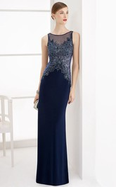 Jewel Neck Sleeveless Sheath Long Prom Dress With Beaded Lace Top