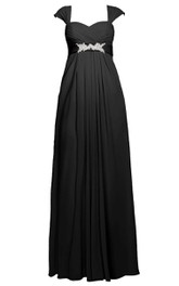 Cap-sleeved Long Pleated Gown With Empire Waist