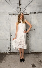 Cap Sleeve Column Tea Length Lace Gown With Pleats