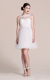 Sleeveless A-line Short Dress With Illusion Neck