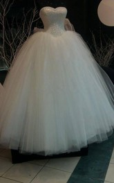 Glamorous Sweetheart Pearls Ball Gown Wedding Dress 2018 Tulle With Lace
