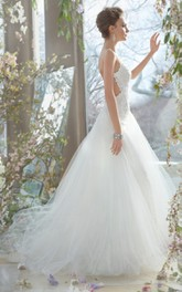 Noble Lace Bodice Tulle Gown With Open Back