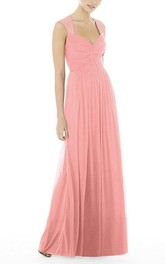Anne Queen Ruched Floor-length Chffion Bridesmaid Dress