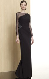 Sheath Jewel Neck Beaded Illusion Sleeve Chiffon Formal Dress