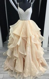 Ball Gown Organza Sequins Spaghetti Sleeveless Straps Dress