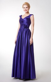Stunning Cap-sleeved V-neck Long Satin Dress With Flowers
