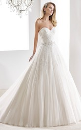 Cap sleeve Illusion Lace Wedding Gown with Open Back and Back Detachable Train