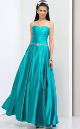 A-Line Pleats Sweetheart Sequins Beading Prom Dress