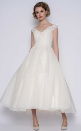 Elegant Organza Ball Gown Cap-Sleeve Ankle Length Bridal Gown with Flower