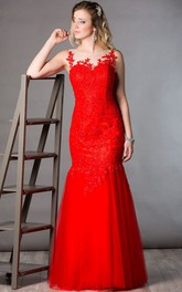 Illusion Neckline Sleeveless Mermaid Tulle Long Mother Of The Bride Dress With Appliqued Top