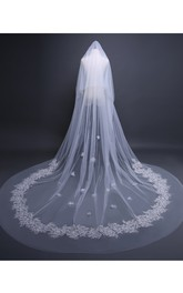 Ethereal Cathedral Tulle Wedding Veil with Lace and Flower Appliques