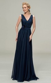 Simple Chiffon Sleeveless V-neck Floor-length Dress With Floral Appliques And Sash