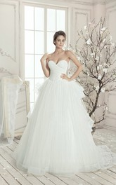 A-line Floor-length Sleeveless Sweetheart Ruffle Dress With Beads