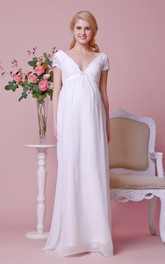 Empire Low-v Neck Cap-sleeved A-line Chiffon Long Dress With Pleats