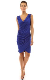 Sleeveless V-neck Knee-length Ruched Dress