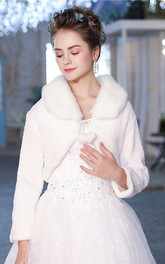 Bridal Wedding Long Sleeve Lapel Plush Winter Warm Wool Shawl