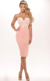 Pencil Appliqued Spaghetti Knee-Length Jersey Prom Dress