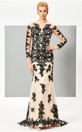 Floral Appliqued 3/4 Sleeve Illusion Two Tune Mermaid Gown With Button Back