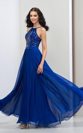 A-Line Halter Sequins Long Prom Dress