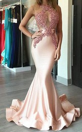 Mermaid Trumpet Satin Lace High Neck Sleeveless Illusion Dress