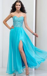 Sweetheart Side-Split Appliques Beaded Prom Dress