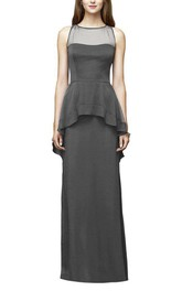 Peplum Illusion Sleeveless Long Bridesmaid Dress